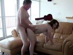 A girl and a guy are having sex