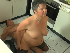 Old couple kitchensex
