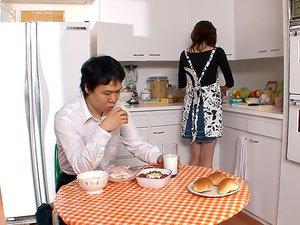 Yoshioka Nanako is satisfying her step- son with her lips