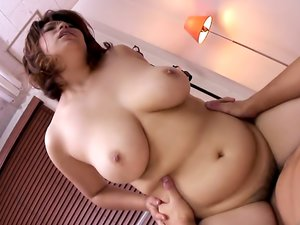 Smoking hot brunette, Yukari is getting banged from the back