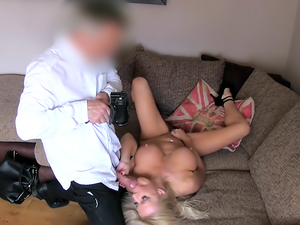 Threesome Casting With Busty MILF