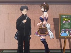 Big titted hentai waitress