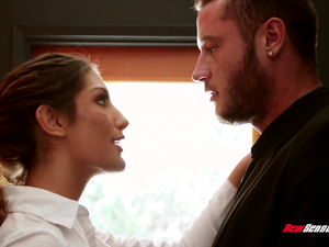 Busty newly wed August Ames rekingling the flames with her hubby