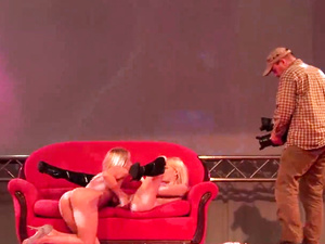 sapphic girlfriends on public porn stage