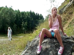 Skinny bitch having hard sex on the mountain part two