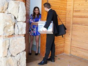 Spanish Babe Seduces Salesman