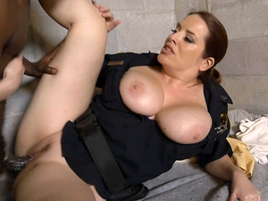 Busty cops enjoy getting dominated by a stiff black fuck rod