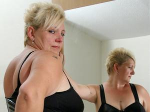 Big blonde mama sucking cock and getting cum