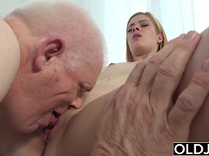 Nick Licks Young Pussy and Sticks His Old Man dick in Teen