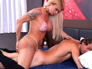 Blond Transsexual Bruna Gaucha Fucks a Guys Ass After He Fucks Hers