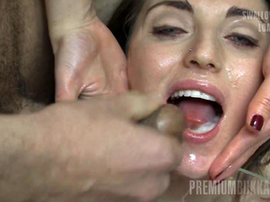 Premium Bukkake - Nona swallows 99 huge mouthful cumshots