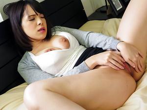 Busty Koyomi Yukihira loves touching her pussy  - More at javhd.net