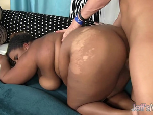 Black BBW Peaches Love Has Her Fat Pussy Fucked Hard and Takes an Oral Cumshot