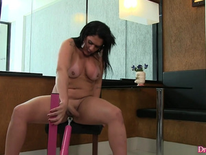 Salacious Shemale Aline Carvalho Slides a Big Dildo In and Out of Her Ass