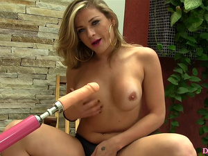 Blonde Shemale Aline Carvalho Is Ass Fucked by a Machine