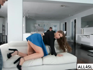 Damn hot Alex gets fucked by her visitor