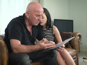 Teen nice perky tits and shaved pussy fucked by grandpa