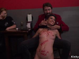 Brunette with written body fucked in public