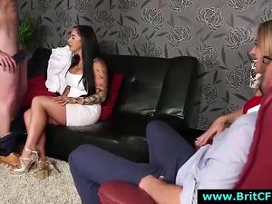 British babes strip boyfriend CFNM amateur