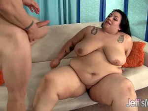 Naughty BBW Mia Riley Takes a Long Dick in Her Warm Mouth and Fleshy Twat