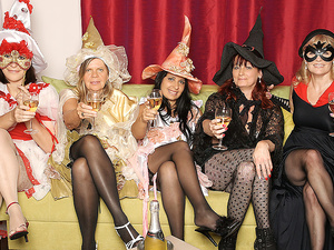 Its a steaming old and young lesbian halloween party