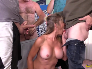Mature Tart Skyler Haven Uses All Three Holes to Please Four Horny Guys