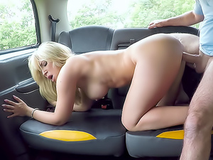 Sexy blonde bent over and fucked