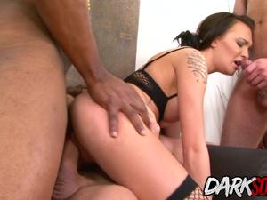 Belle Clair interracial anal gangbang