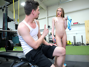 Stepsister Rides Stepbro's Dick At Gym