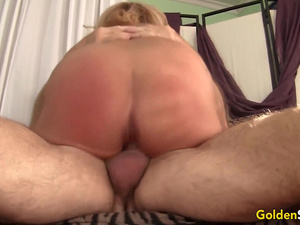 Hot to Trot Mature Blonde Crystal Taylor Sucks Cock and Gets Plowed