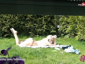 MyDirtyHobby - Amazing blonde teen sunbathing!