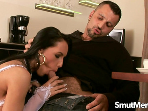 Naughty MILF Mela Serves Her Man a BJ and Some Sweet Pussy with His Tea