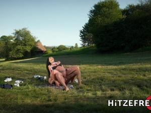 HITZEFREI Busty German MILF Jacky Lawless Ass Fucked Outdoors