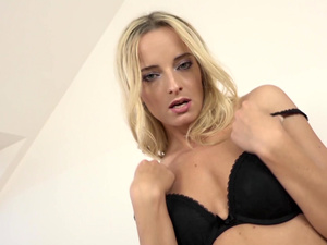 Blonde babe Victoria Pure casting with a huge dick