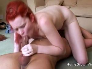 Redhead amateur gets slammed by her boyfriends big cock