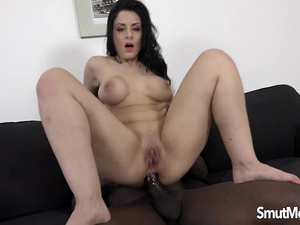 Alex Black Mounts Her Ass on BBC and Gets Cum on Her Big Natural Jugs