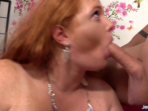 Horny Fat Redhead Scarlett Raven Takes a Hard Cock in Her Mouth and Asshole