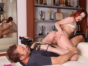 Big-Assed Redhead's Huge Cock Audition