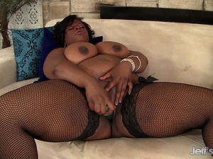 Mega Milkers Ebony BBW Marliese Morgan Stimulates Her Pussy with Sex Toys