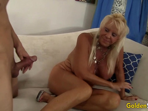 Busty Granny Mandi McGraw Pleasures Young Lover with Mouth and Pussy