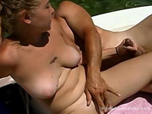 My blonde girlfriend jerks me off on my boat