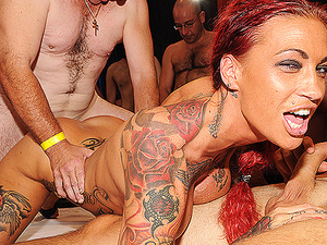 rough fuck party with tattooed milf