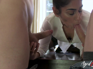 AgedLovE Threesome Hard Rough Sex with Sam Bourne