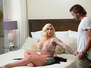 Busty blonde MILF Ryan Conner finds her son's friend peeping on her, then invites him in for a fuck and suck