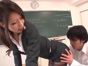 Haruka Sanada Asian teacher has a tight sexy skirt