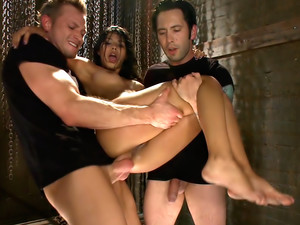 20 yr Old Fails The Takedown Challenge, Gets Her FIRST Gangbang and DP!