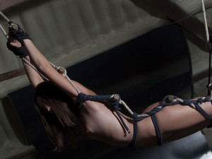 Sexy Iwea tied in ropes for hours of bdsm penalty