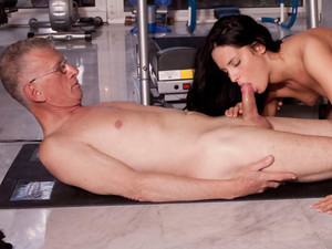 Flesh young brunette gives horny old man thrilling fuck
