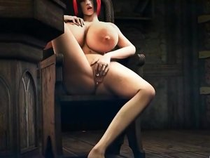 Huge titted horny 3d redhead