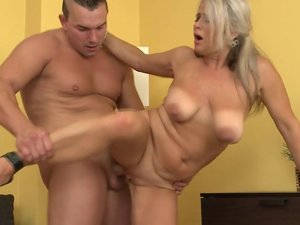 Horny housewife squirts and gets fucked hard